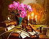 VP942 Набор-раскраска по номерам Натюрморт со скрипкой и пионами