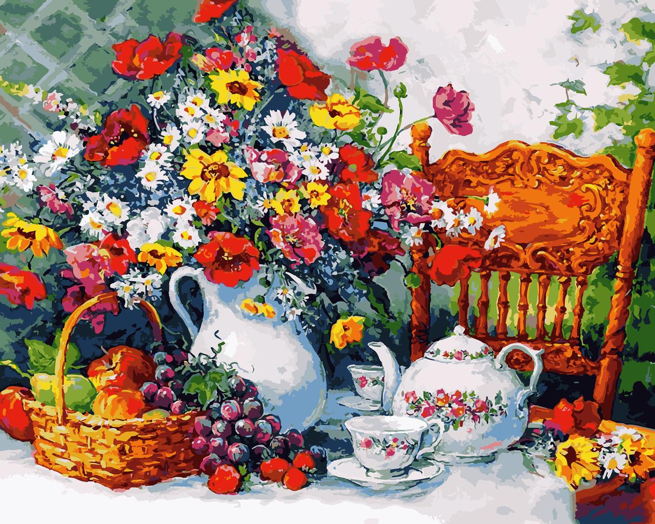 VP943 Набор-раскраска по номерам Чаепитие в саду