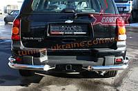 """Защита заднего бампера """"уголки"""" d 76/42 двойные Союз 96 на Chevrolet TrailBlazer 2004-2010"""