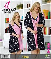 Комплект, халат и ночная сорочка больших размеров. XL, фото 1