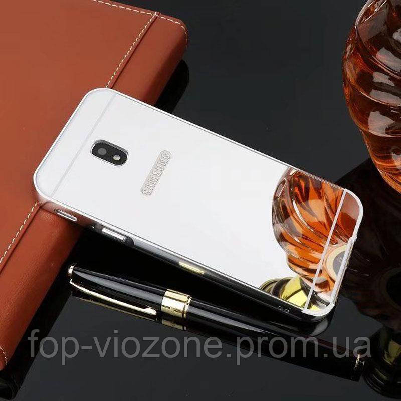 Зеркальный Чехол/Бампер для Samsung Galaxy J3 2017 / J330, Серебро (Металлический)