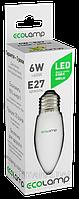 LED лампа ECOLAMP C37-6W-E27-600lm-4100K