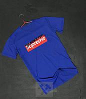Футболка мужская Supreme Суприм с бархатным нанесением синяя (РЕПЛИКА)