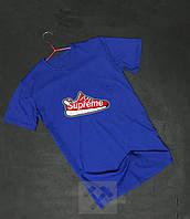 Футболка синяя Supreme Суприм с бархатным нанесением (РЕПЛИКА)