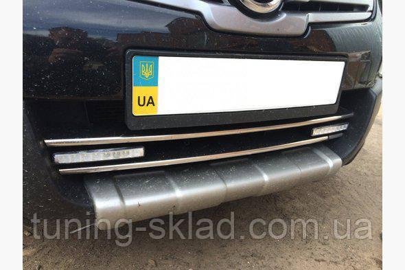 Хром полоски на нижнюю решетку Nissan Qashqai 2010-2014  (Ниссан Кашкай)