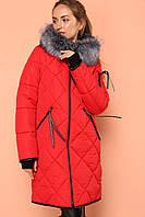 Женское зимнее стеганное пальто Лилиан,эко мех,52,54р