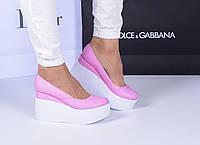 Розовые кожаные туфли на двойной танкетке, фото 1