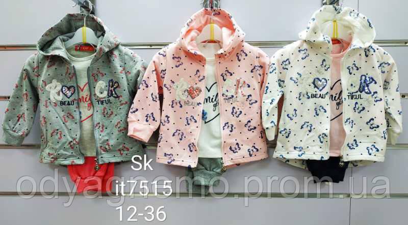 Трикотажный костюм-тройка для девочек Setty Koop оптом, 1-5 лет.