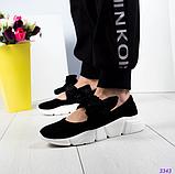 Женские замшевые слипоны (балетки) с бархатными завязками черный (Украина), фото 5