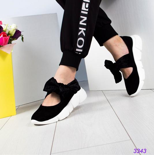 Женские замшевые слипоны (балетки) с бархатными завязками черный (Украина)