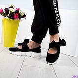Женские замшевые слипоны (балетки) с бархатными завязками черный (Украина), фото 2