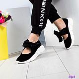 Женские замшевые слипоны (балетки) с бархатными завязками черный (Украина), фото 3