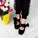Женские замшевые слипоны (балетки) с бархатными завязками черный (Украина), фото 4