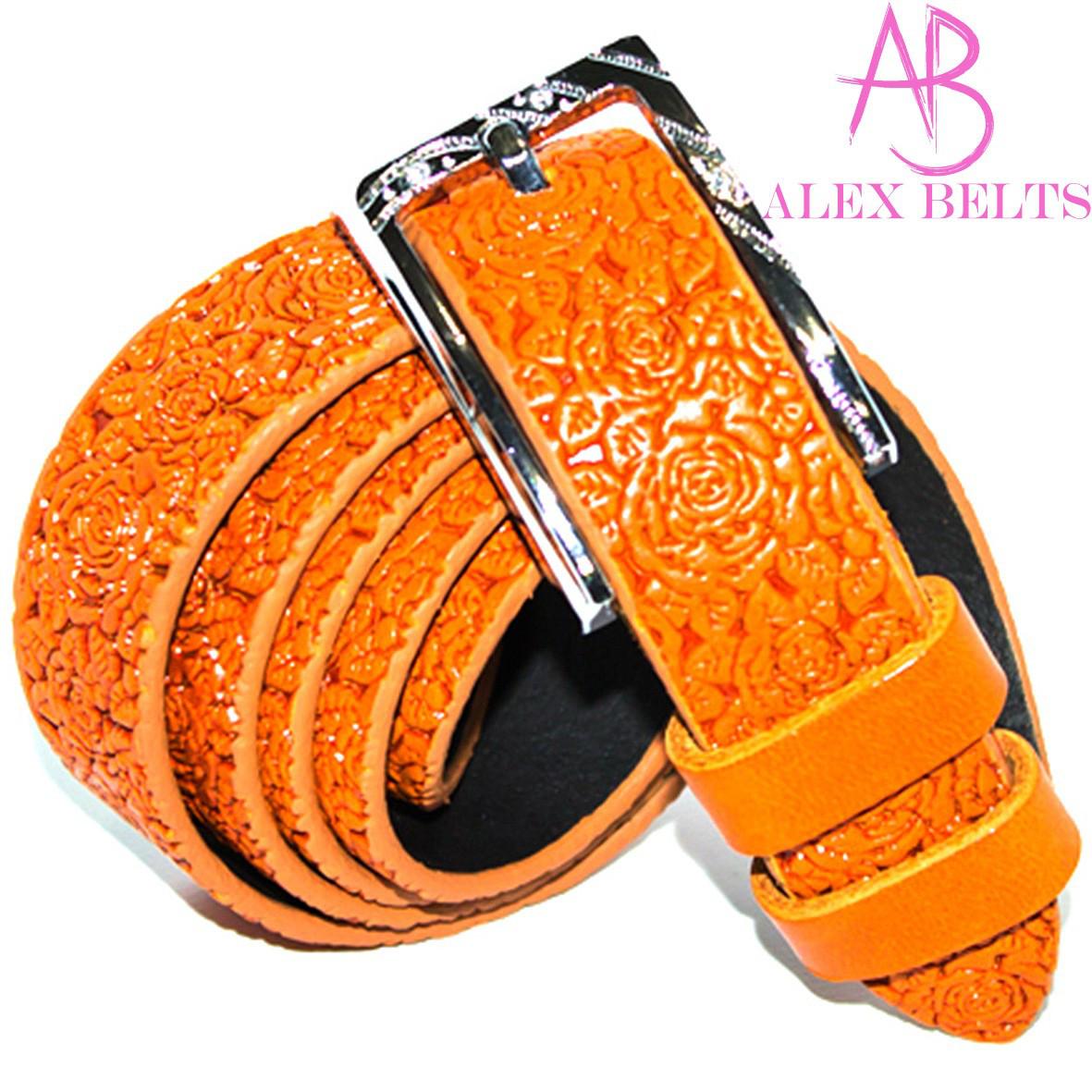 Ремень женский кожа оранжевый 25 мм-купить оптом в Одессе