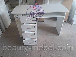 Маникюрный стол с ящиком карго, белый