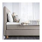 Двуспальная кровать IKEA LAUVIK 140x200 см Hamarvik средней твердости темно-бежевый 692.507.46, фото 4