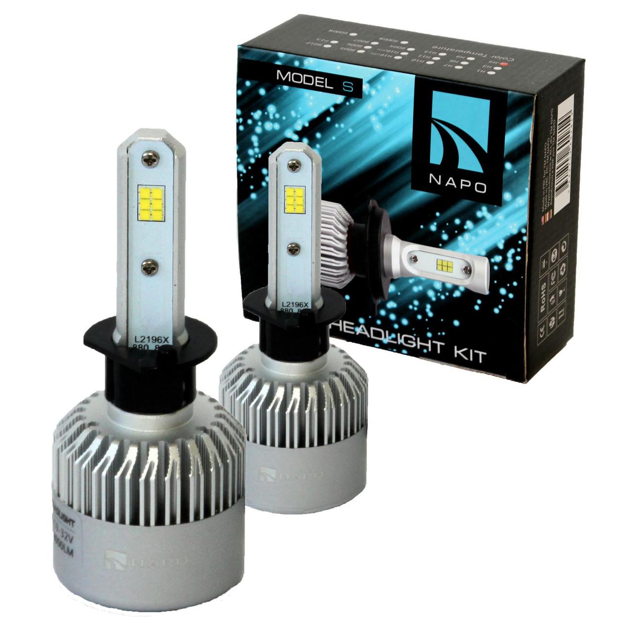 Лампа светодиодная NAPO Model S  H1  8000 Lum, цвет свечения белый, 2 шт/комплект