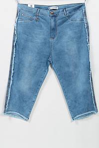 Летние джинсовые женские шорты со стразами по бокам, размеры 48-54
