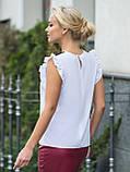 Белая блузка прямого кроя с рукавами «крылышко» и отделкой из кружева, фото 2