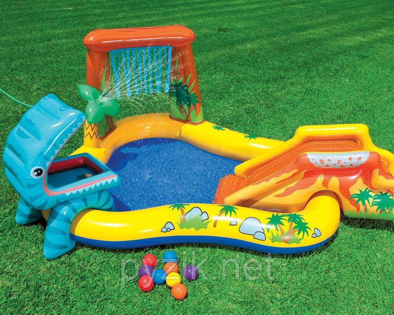 Детский надувной игровой центр-бассейн Intex «Динозавры», 249 х 141 х 109 см, с фонтаном