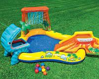 Детский надувной игровой центр-бассейн Intex «Динозавры», 249 х 141 х 109 см, с фонтаном , фото 1