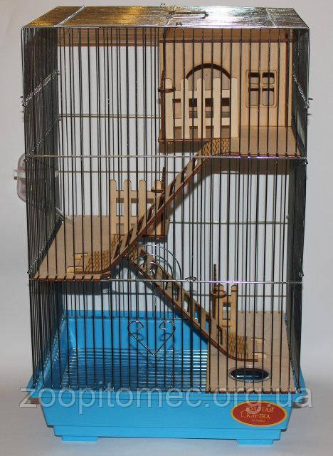Клетка для грызунов 35-28-54 см хром дерево