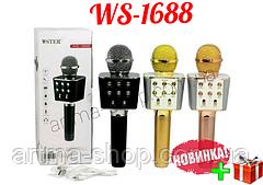Розово-золотой  караоке-микрофон Wster WS-1688 Bluetooth