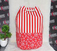 Полосатая красная пляжная сумка-торба., фото 1
