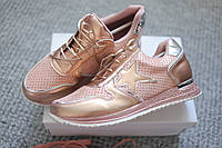 Женские кроссовки Plein перфорация розовое золото 38 размер