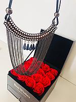 Ажурное колье, ожерелье, черный металл, кожаный шнурок