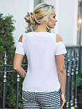 Біла блузка з вирізами на плечах і короткими рукавами, фото 2