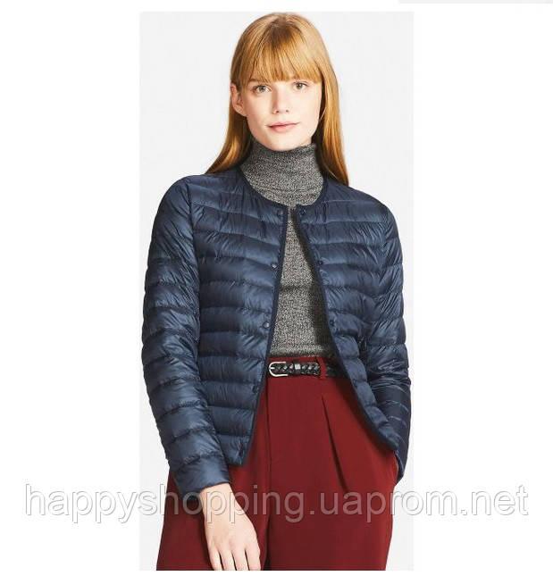 Женская темно-синяя легкая куртка на пуху Uniqlo