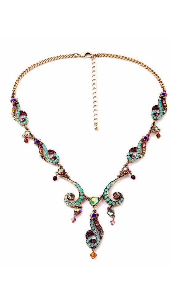 Уникальное ожерелье с цветными камнями ТБ-140