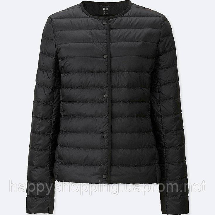 Женская черная легкая куртка на пуху Uniqlo