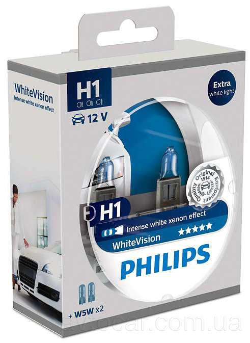 Philips WhiteVision H1+W5W 12V 55W комплект 2шт. + 2шт. 12258WHV