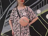 Женская круглая бананка сумочка на пояс пудра, фото 1