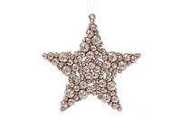 Елочное украшение Звезда 9.5см цвет - шампань, пластик, в упаковке 45шт. (788-440)