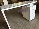 Маникюрный стол под стеклом и с тройной розеткой, фото 2