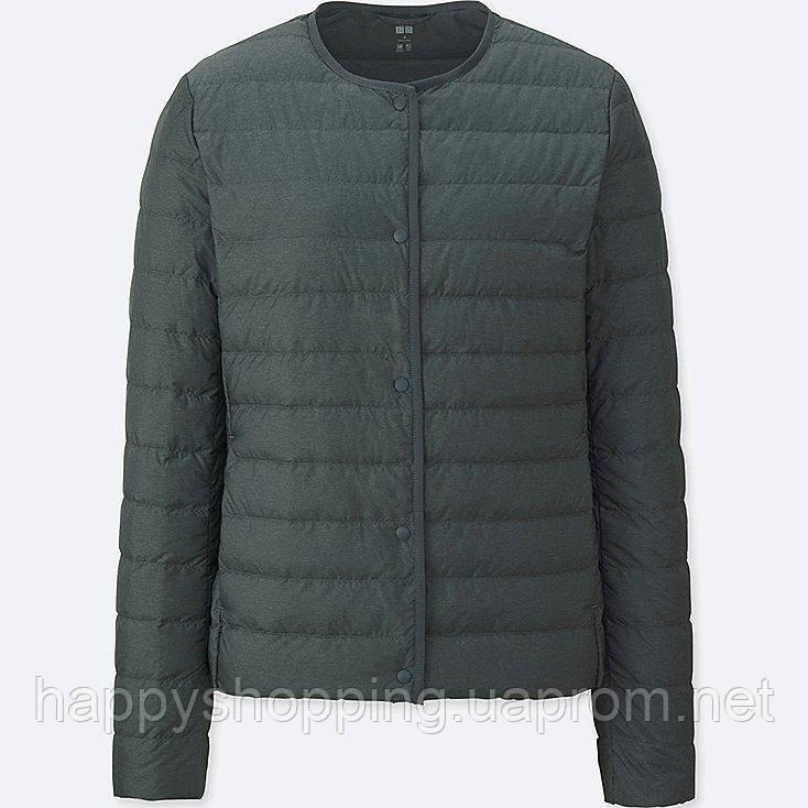 Женская темно-серая легкая куртка на пуху Uniqlo