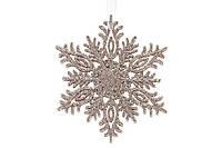Елочное украшение Снежинка 12см цвет - шампань, пластик, в упаковке 45шт. (788-444)