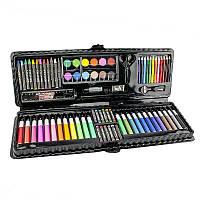 Детский подарочный набор для рисования и творчества в чемоданчике Art set, 92 предмета в чёрном футляре