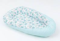 Кокон - позиционер для малыша с непромокаемой пеленкой BabySoon Ежики на мяте 50Х80см (455), фото 1