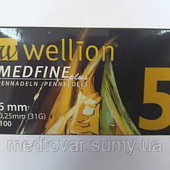 Голки для інсулінових шприц-ручок Wellion MEDFINE plus 0.33 mm (29G) x 5 мм, 100 шт