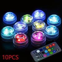 Набор 10шт водонепроницаемых LED светильников SMD 3528 RGB с ИК-пультом дистанционного управления