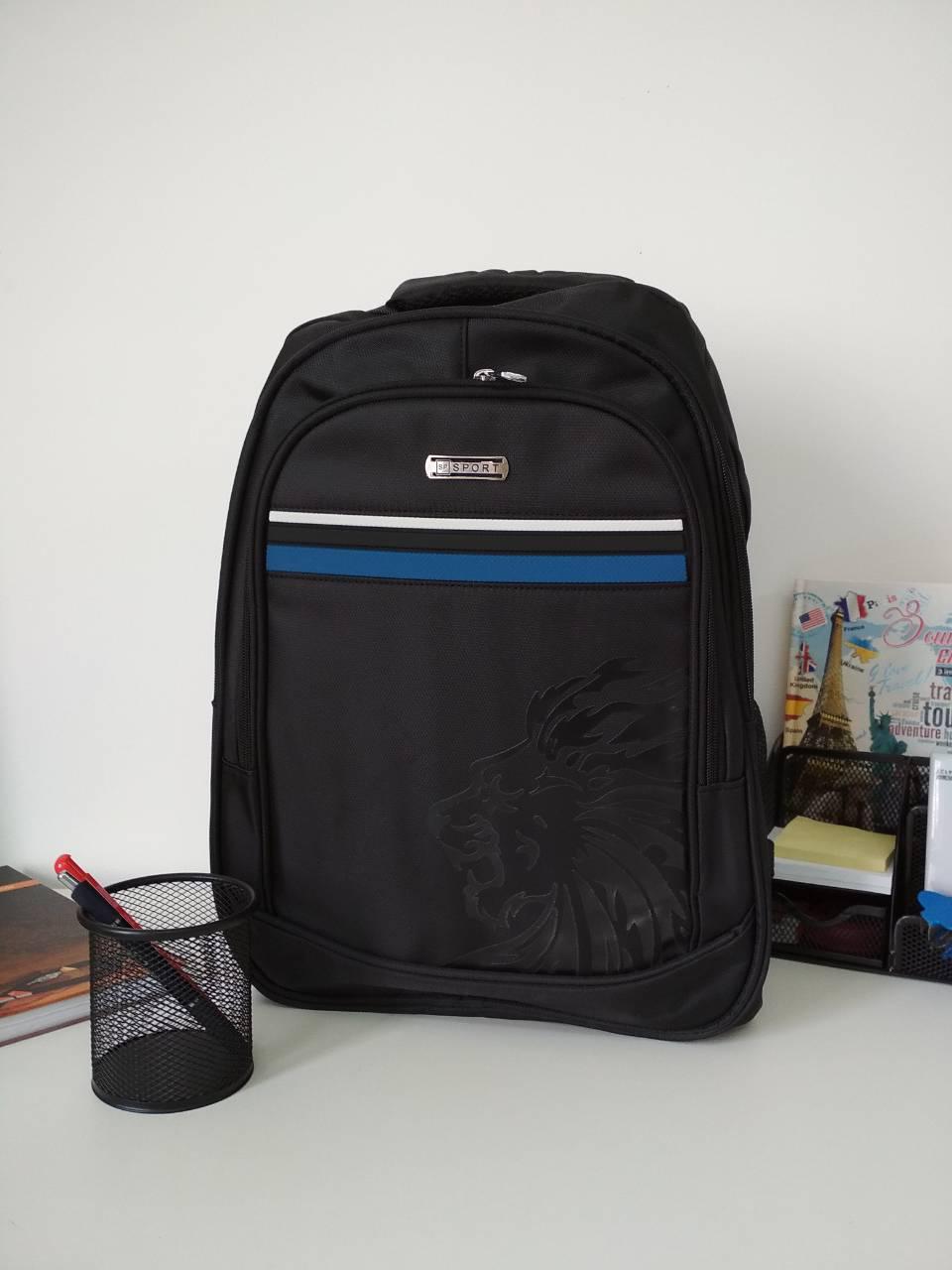 Черный школьный рюкзак для подростка 47*33*17 см