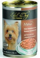 Консервы для собак Эдель Дог (Edel Dog), мясо птицы и морковь, кусочки в соусе, 400гр