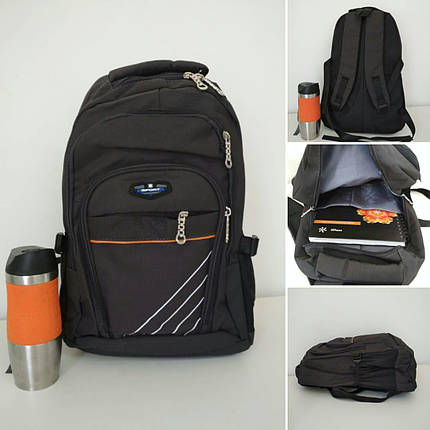 Подростковый школьный рюкзак с наружным карманом и широкими лямками 45*32*16 см, фото 2