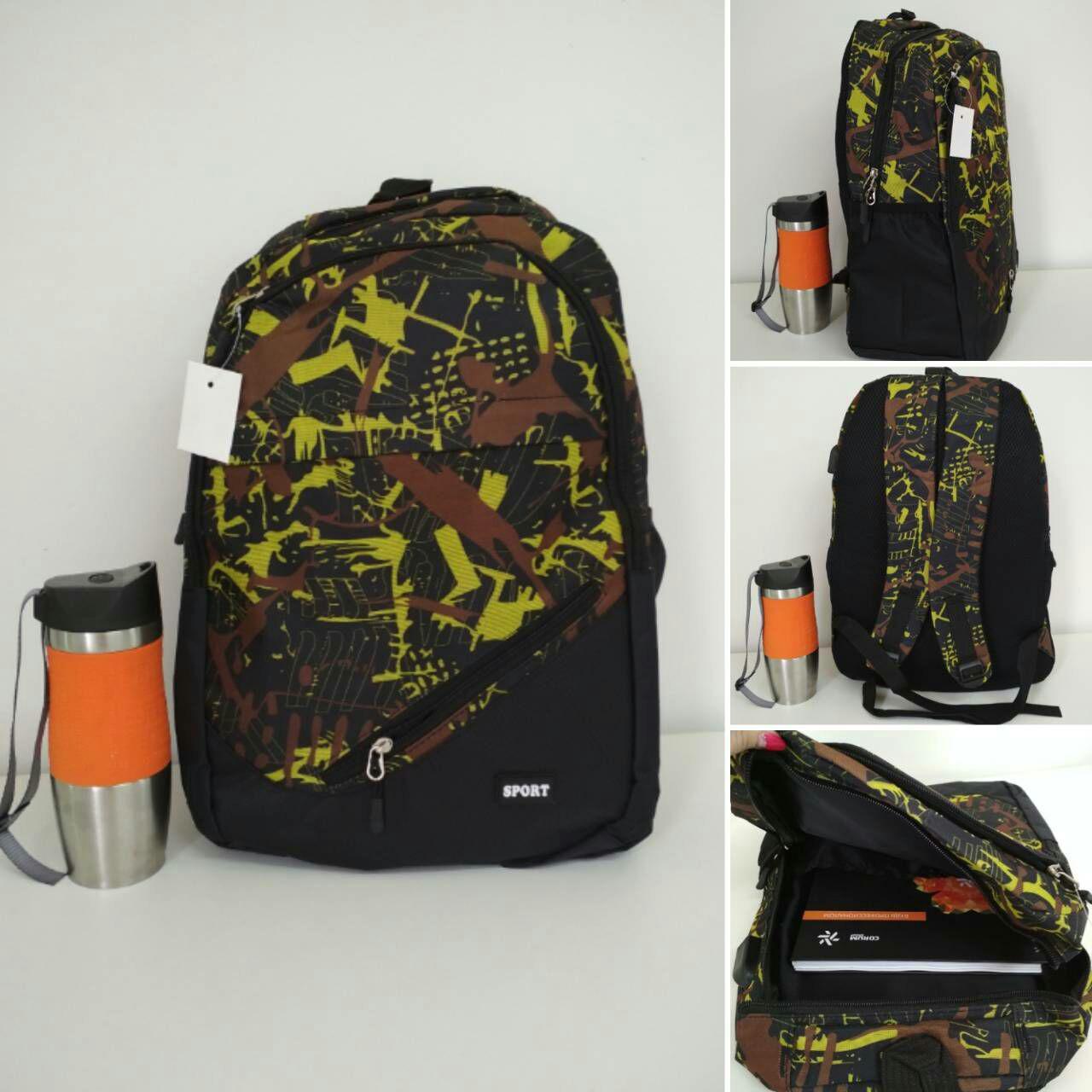 Тканевый школьный рюкзак с косым карманом и принтом 45*32*15 см