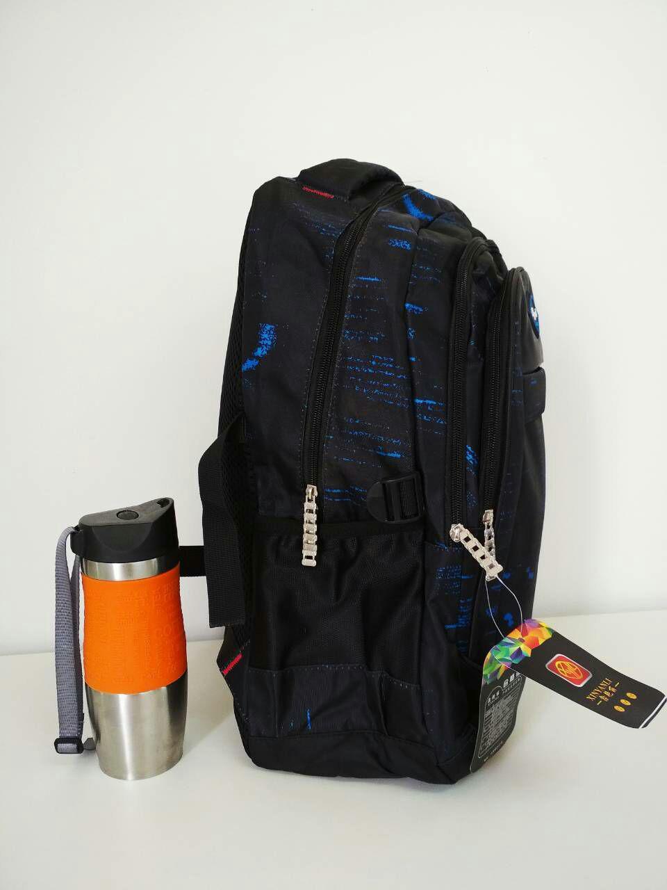 138e1f8574f9 Школьный рюкзак черный с голубым принтом 45*32*14 см, цена 295 грн., купить  в Харькове — Prom.ua (ID#736140086)