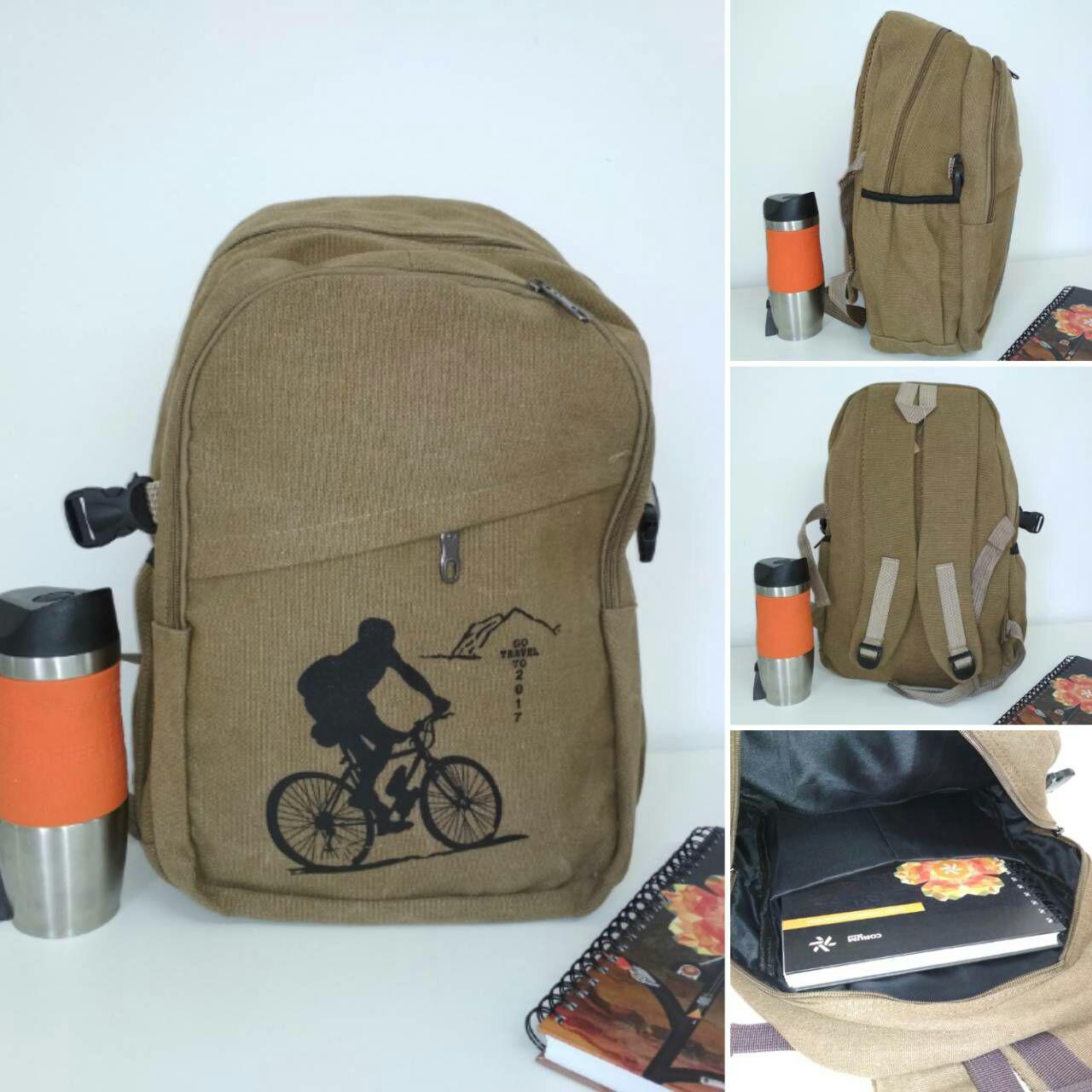 Школьный текстильный рюкзак с рисунком велосипедиста 45*29*16 см